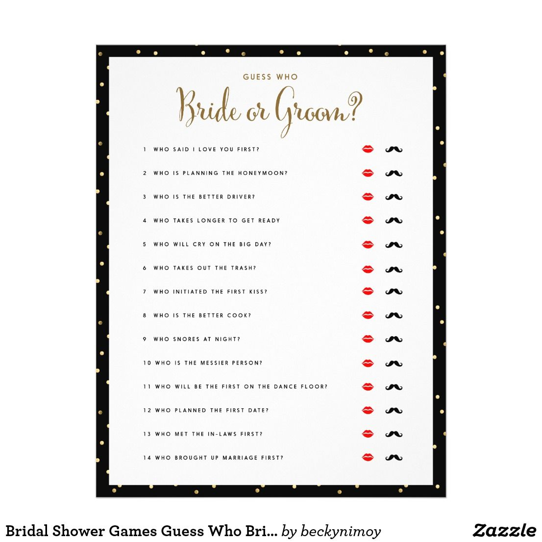 Bridal Shower Games Guess Who Bride or Groom Game Flyer