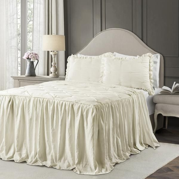 Ravello Pintuck Ruffle Skirt Bedspread Set