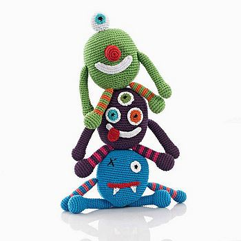 Fair Trade Hand Crocheted Monster Rattle  by Fair Play