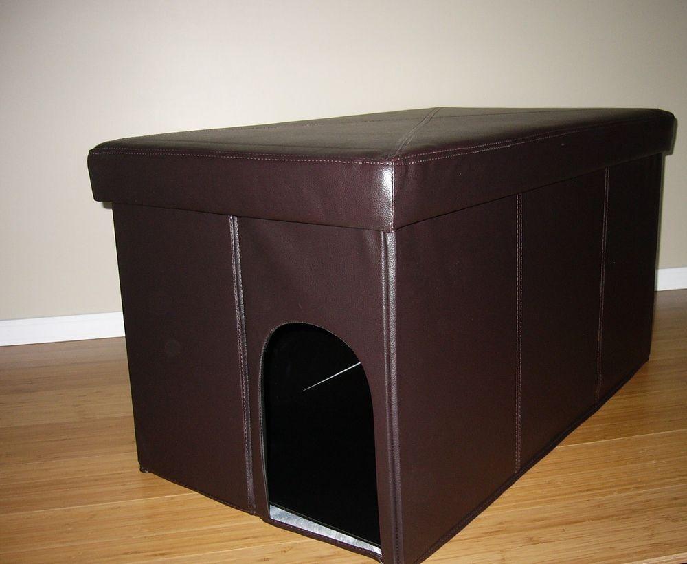 Charmant Decorative Brown Faux Leather Cat Litter Box Cover Storage Ottoman Condo Bed