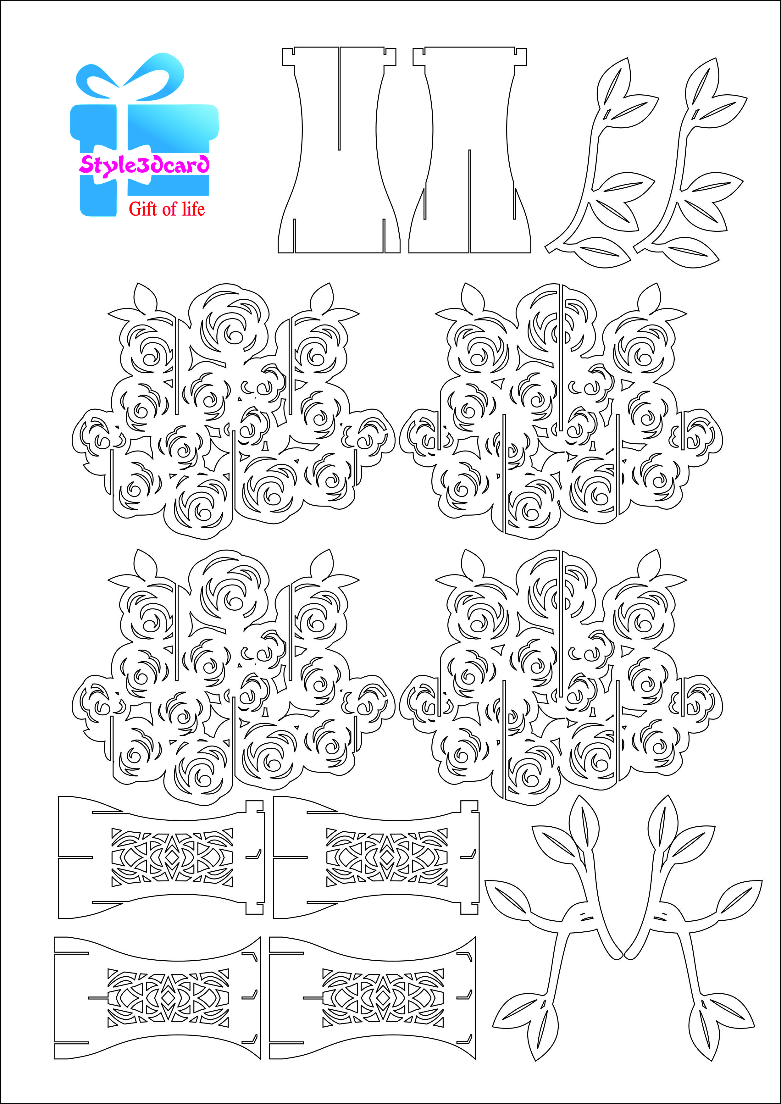 Rose Pattern Kirigami 2 Pop Up Card Templates Heart Pop Up Card Pop Up Cards