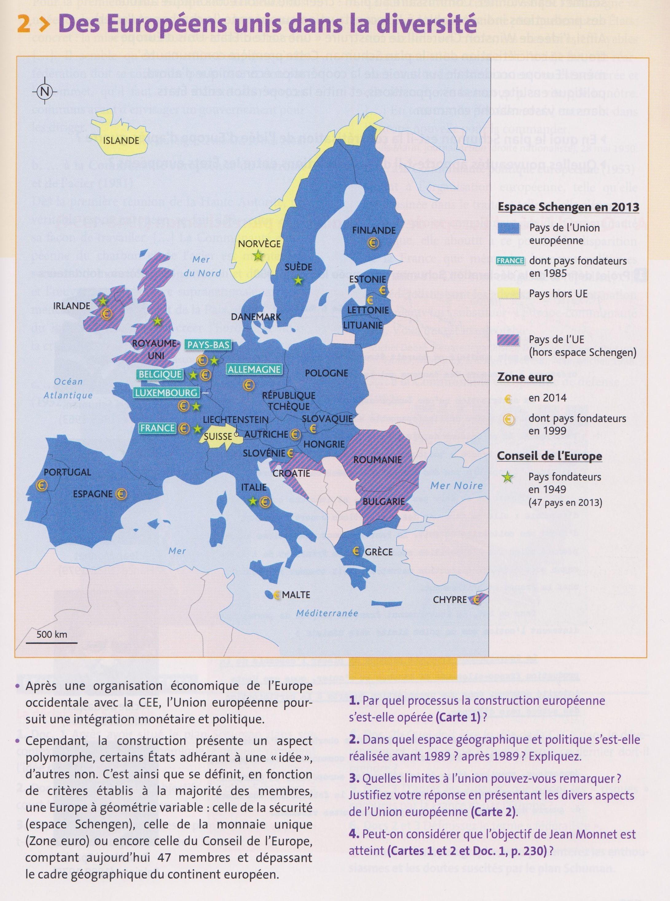 Tbacpro H2 Des Europeens Unis Dans La Diversite L Espace Schengen La Zone Euro Source Votre Manuel Hachette Techn Espace Schengen Mer France Estonie