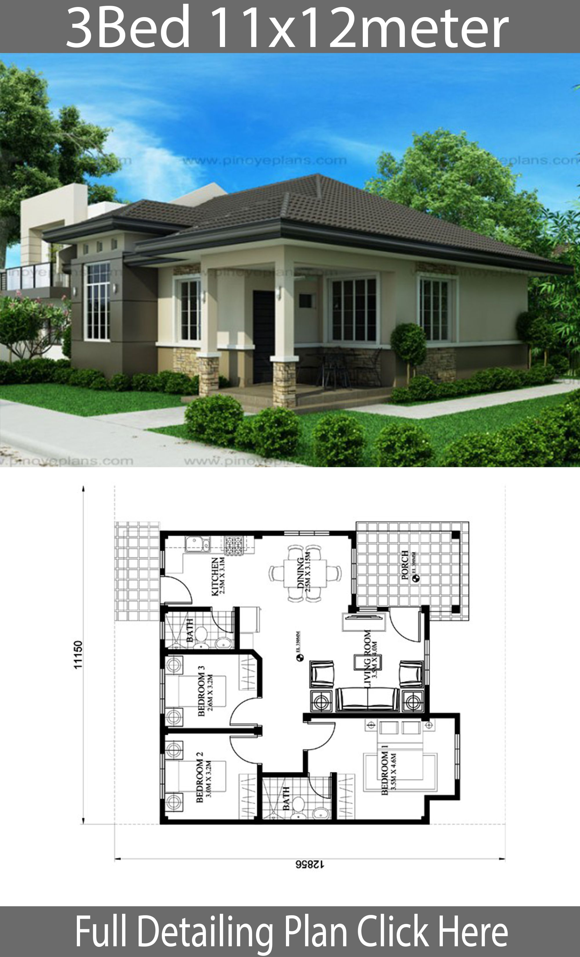 House Design 11x12m With 3 Bedrooms House Plan Map In 2020 Small House Design Plans Simple House Design Simple Bungalow House Designs