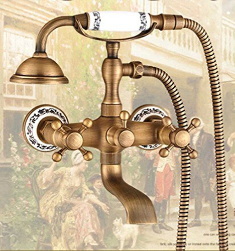 Oulantron Wall Mounted Antique Brass Bath Tub Faucet with Hand ...