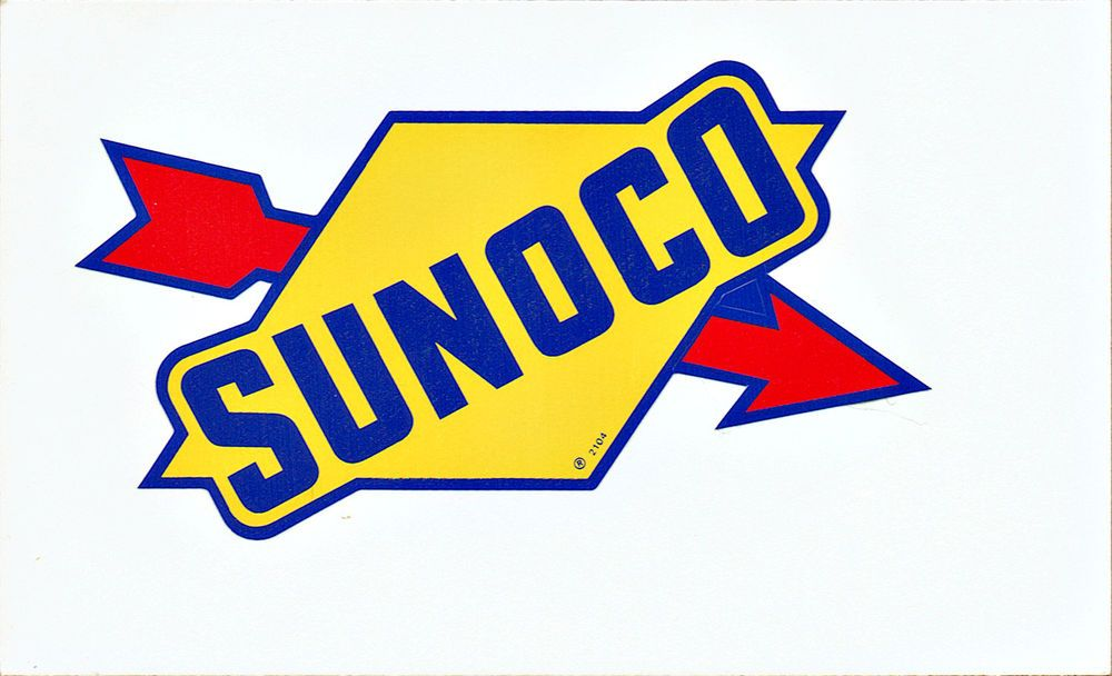 Vintage SUNOCO Gas Pump Sticker Oil Bottle Decal Gasoline