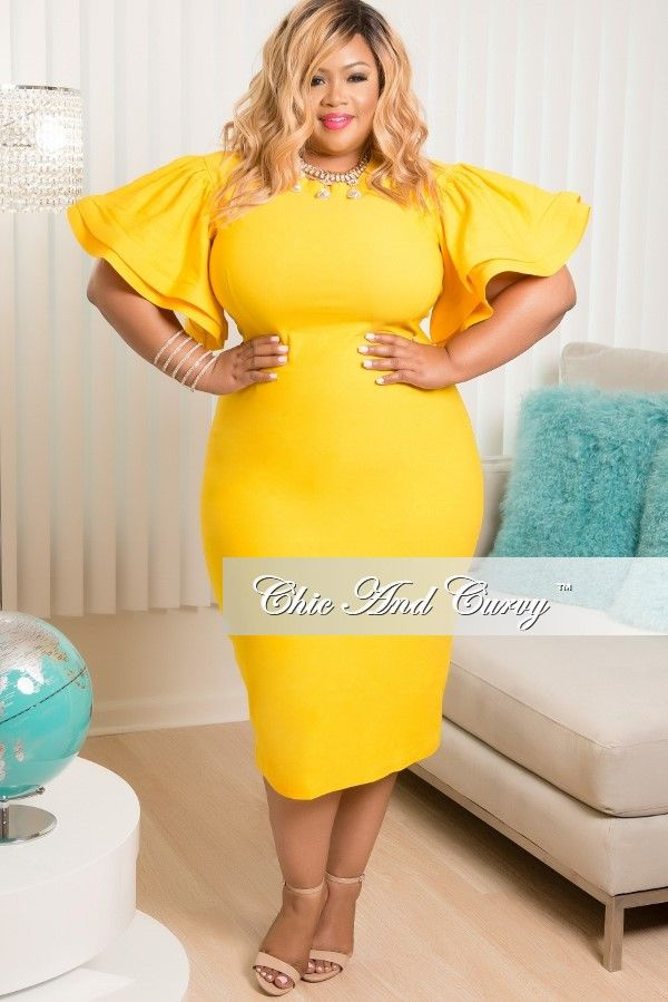 Plus Size Bodycon Dress With Ruffle Sleeves In Yellow Chic And