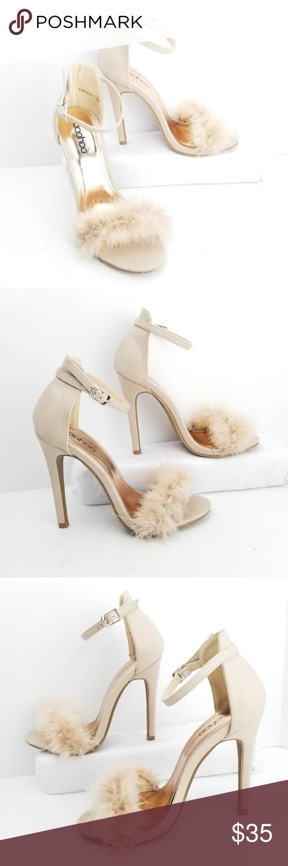 f88add49f0ee Boohoo Stilettos Size 5 Feather Ankle Strap Peep Heel 4.5