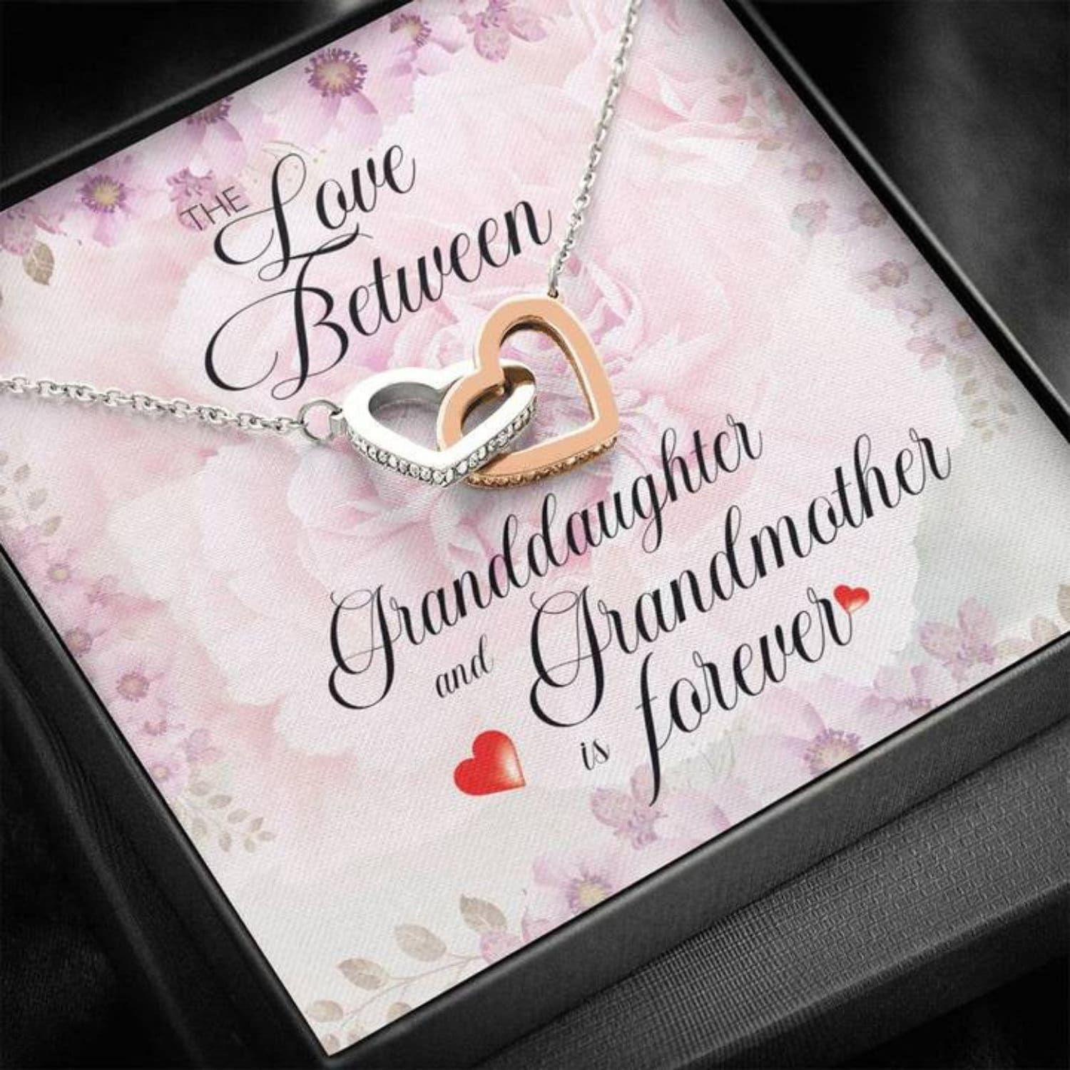 """""""✅ Grandma Necklace: Interlocking Heart Necklace ✅ Size: Height 0.6\"""" (1.5cm) x Width 1.1\"""" (2.7cm) ✅ Material: Cubic Zirconia stones, high quality polished surgical steel ✅ Adjustable cable chain, wear at 18\"""" to 22\"""" in length 🚚 USA Guarantee: Made, packaged and shipped from USA. ❗ Granddaughter Gifts, unique, one-of-a-kind gift. Surprise your loved one with this gorgeous gift today! Necklaces are universally accepted as a preferred gift choice for every occasion. This cute granddaughter neck"""