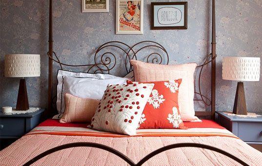 eco design, eco interiors - apricot and gray bedroom - Room Service Interiors.