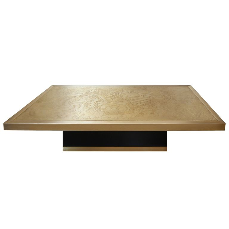 Signed Guy De Jong Etched Bronze Coffee Table From A Unique