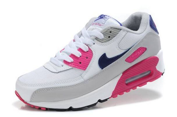Nike Women's Shoes- Nike Air Max 90 White/Pink-Cool Grey-Obsidiano