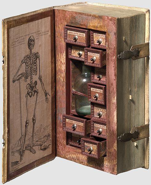 Tiny cupboard hidden in a book.