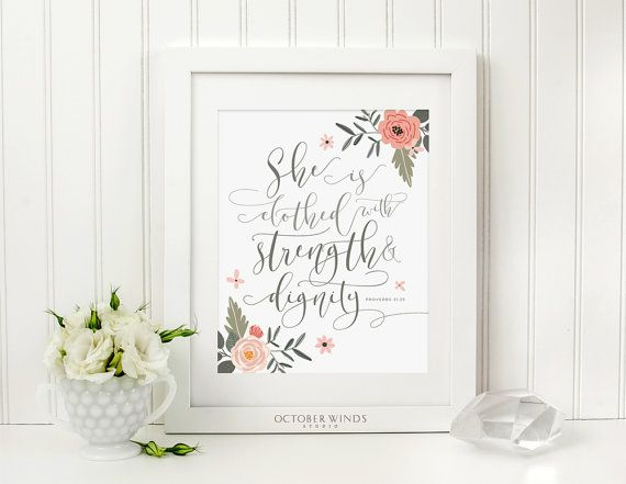 Proverbs 31 25 Printable Bible Verse Wall Art Christian Gift Etsy Bible Verse Wall Art Bible Verse Wall Christian Prints