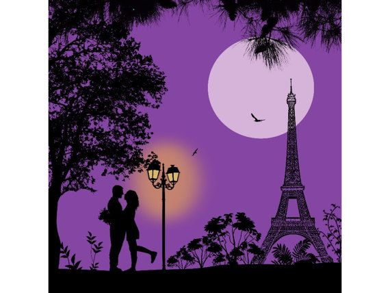 Cuadro pareja enamorados paris torre eiffel luna tienda - Cuadros de parejas ...