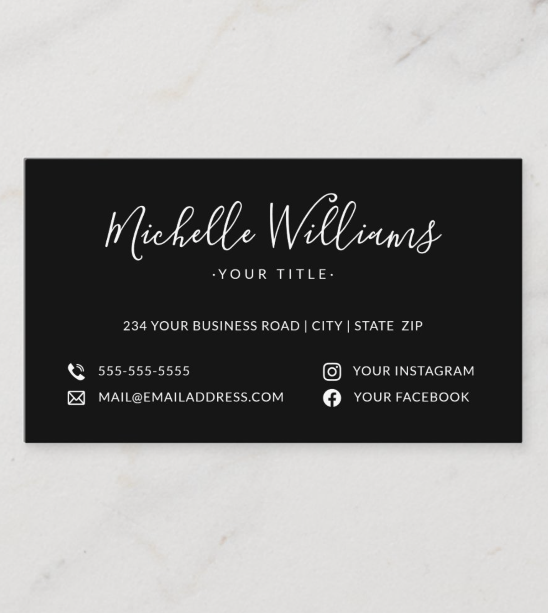 Black Feminine Script Custom Logo Social Media Business Card Zazzle Com Media Business Cards Social Media Business Cards Professional Business Cards Templates