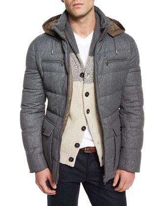 Brunello Cucinelli Milan Quilted Down Hooded Jacket Gray Hooded Jacket Mens Winter Fashion Jackets