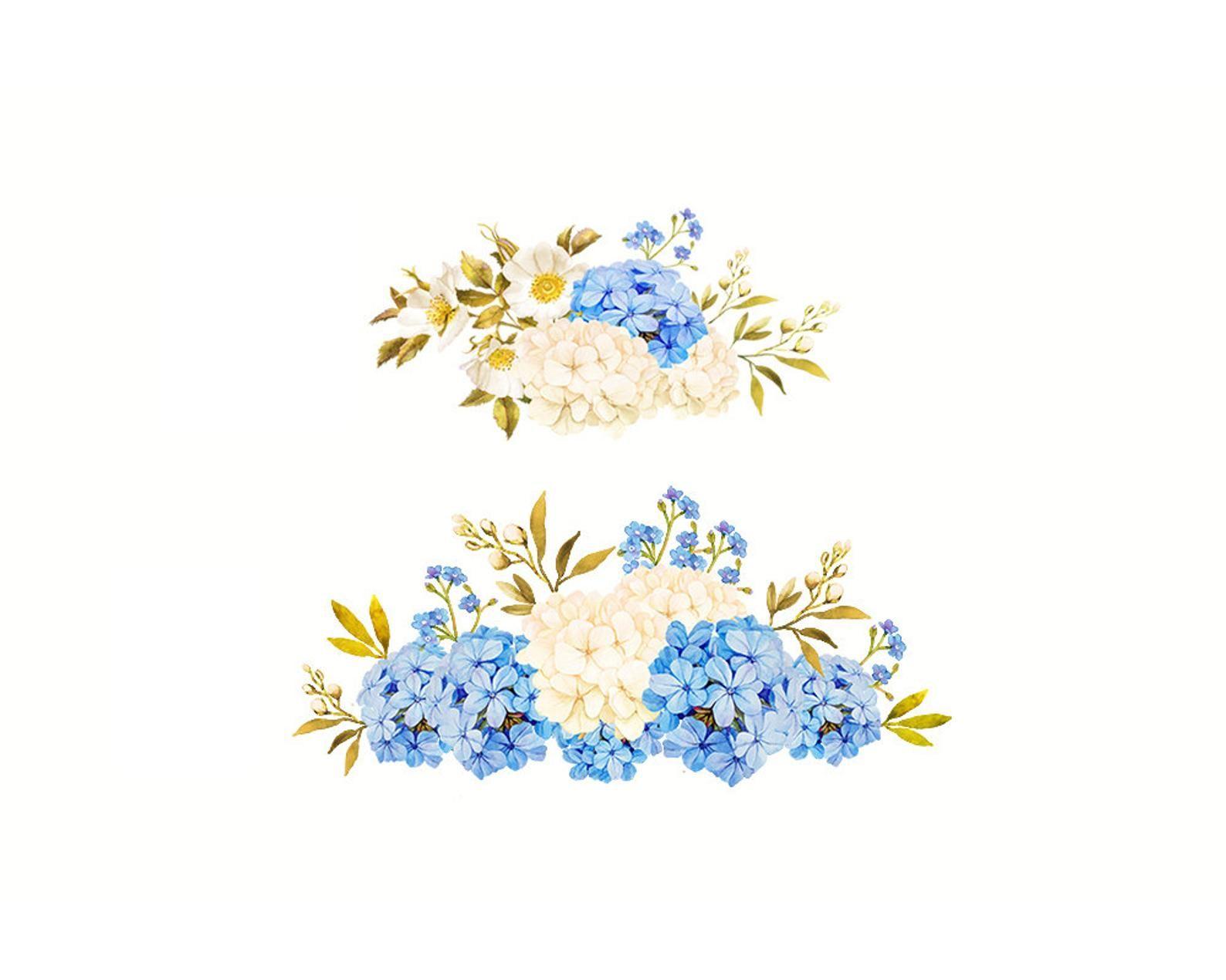 Flower Watercolor Clipart Floral Clipart Blue Jasmine Clipart Hydrangea Clipart Blue White Clipart Blue Gold Clipart White Roses Watercolor Flowers Flower Clipart Flower Illustration