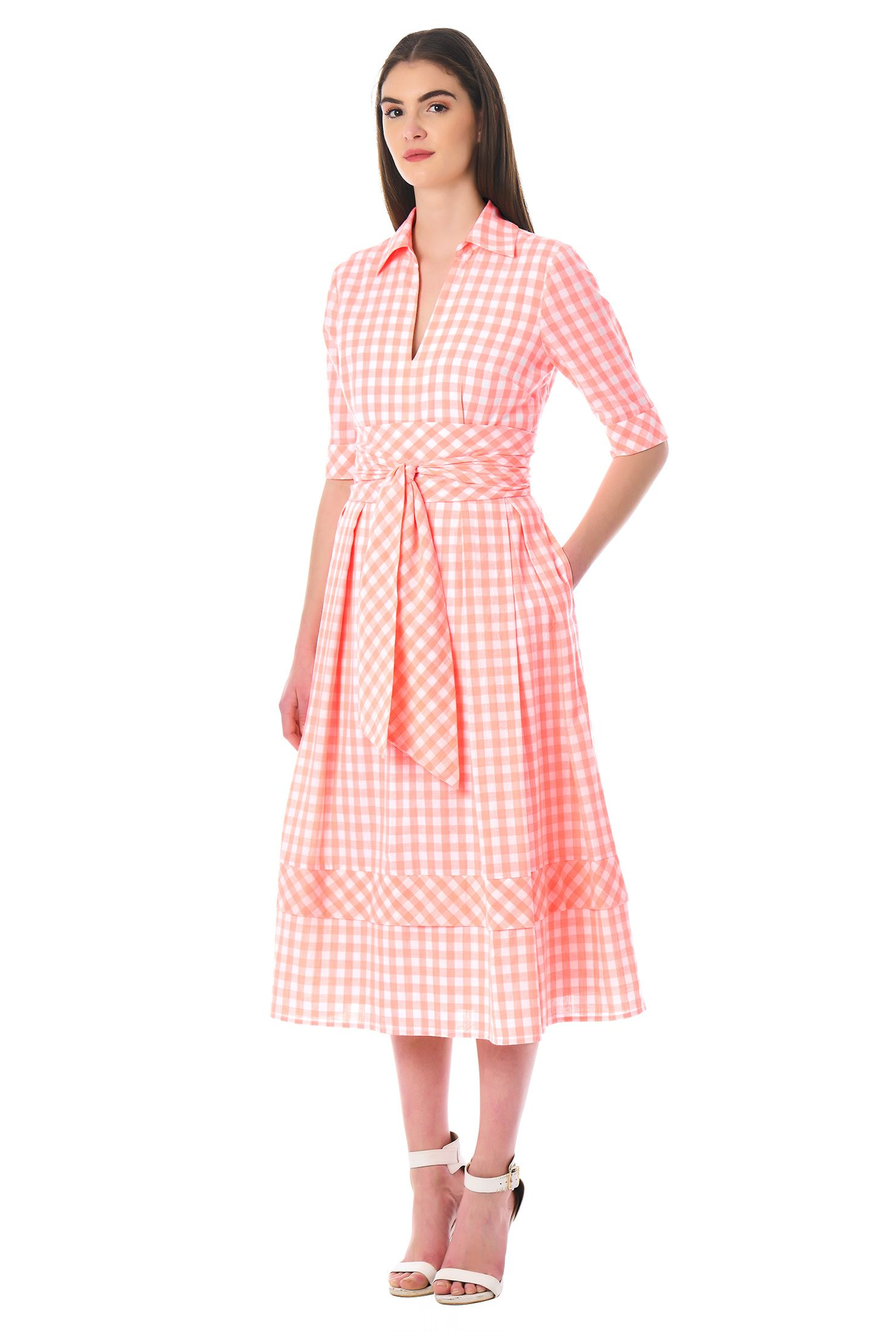 Obi belt gingham check cotton dress | Vestiditos, Ropa para mujeres ...