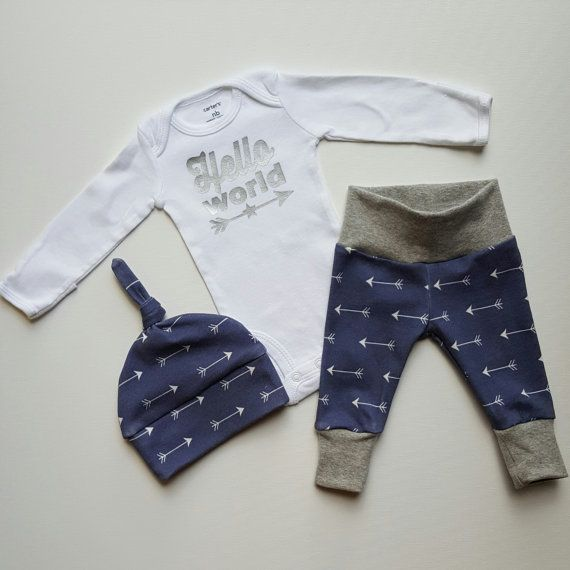 43dbc5ac2952 Baby Boy Newborn Take Home Outfit. Hello World Stars and Arrows ...
