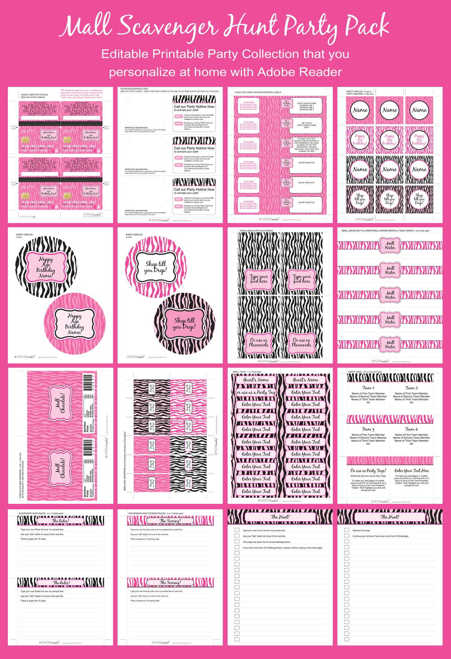 Mall Scavenger Hunt Party Printables & Invitations – pink zebra ...