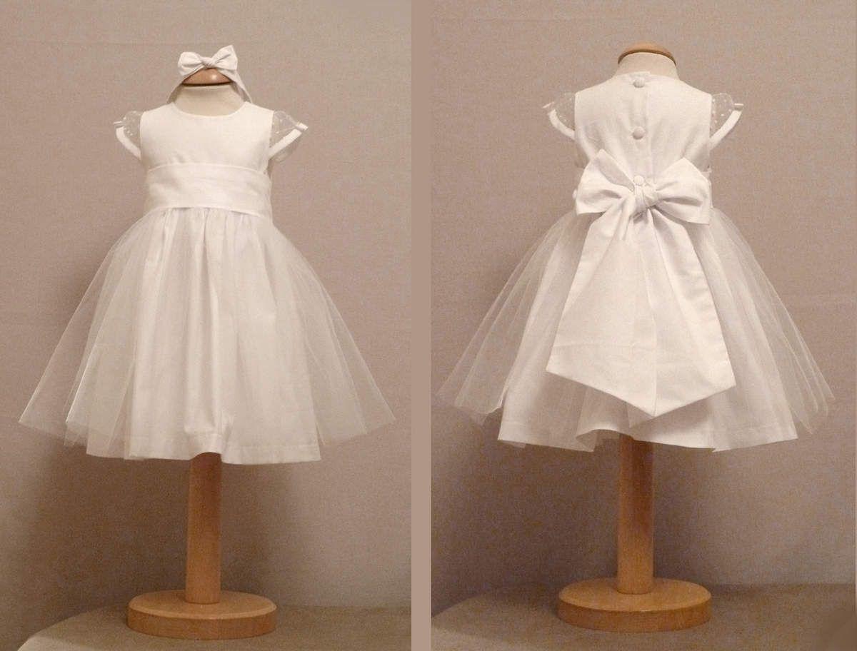 e195f2a3cb368 Robe blanche en plumetis et coton 4 variantes Idée robe baptême mariage Robe  Bapteme Fille