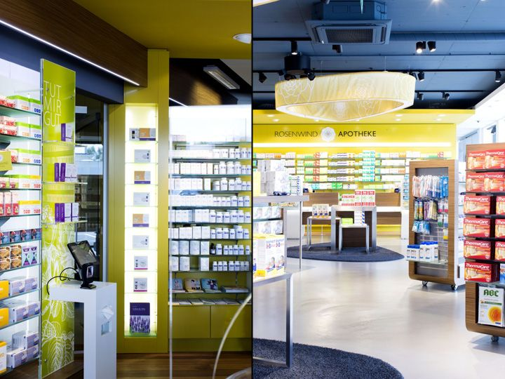 Rosenwind Pharmacy by UniversalProjekt, Seewalchen – Austria High quality finishes and an unsurpassed attention to detail, complete the design. An impeccable multi-brand presentation using custom made frame moldings and counters in a mix of bright and textured surfaces reinforces the impression of a high-quality product.