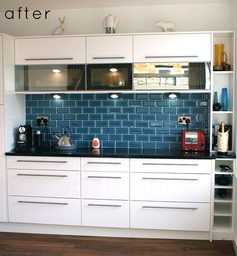 Kitchen Tiles Blue beautiful blue backsplash | home | pinterest | black tiles, blue