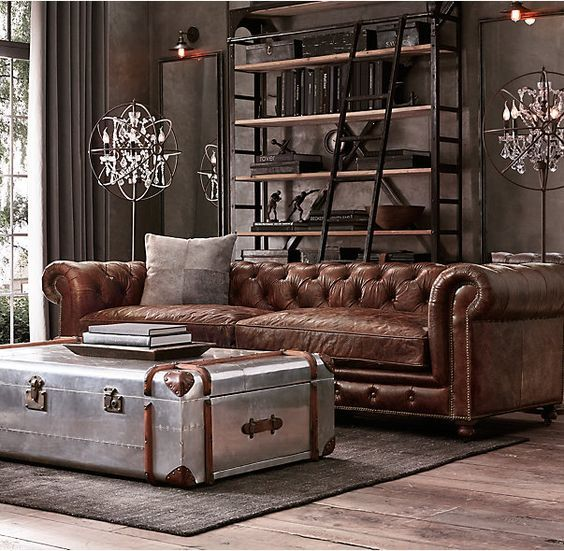 Steampunk leather sofa living room restoration hardware home