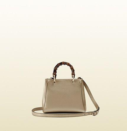 Gucci - Henkeltasche Bamboo Shopper Mini aus metallischem Leder 368823AH90G9524