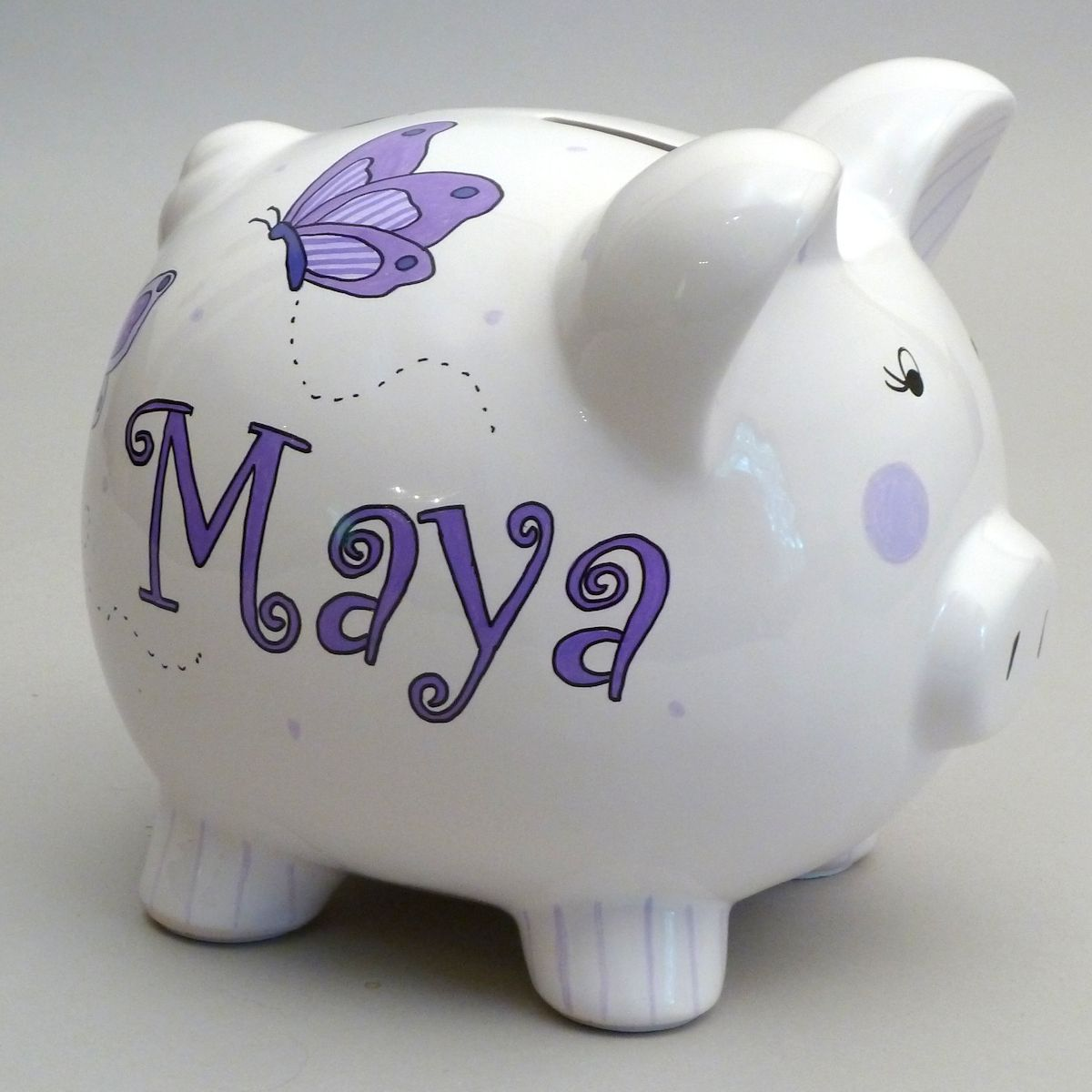 Lavender Butterfly Piggy Bank This Little Piggy