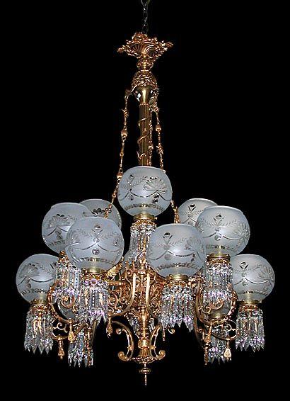 Magnificent museum quality doré bronze eighteen-arm Victorian Rococo  gasolier. This antique chandelier features - Magnificent Museum Quality Doré Bronze Eighteen-arm Victorian