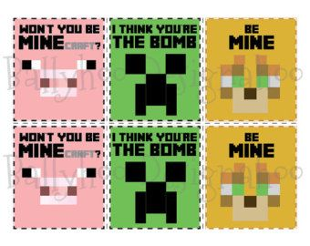 photo about Minecraft Valentine Box Printable named Minecraft Valentines Working day Playing cards, Pig, Creeper Ocelot