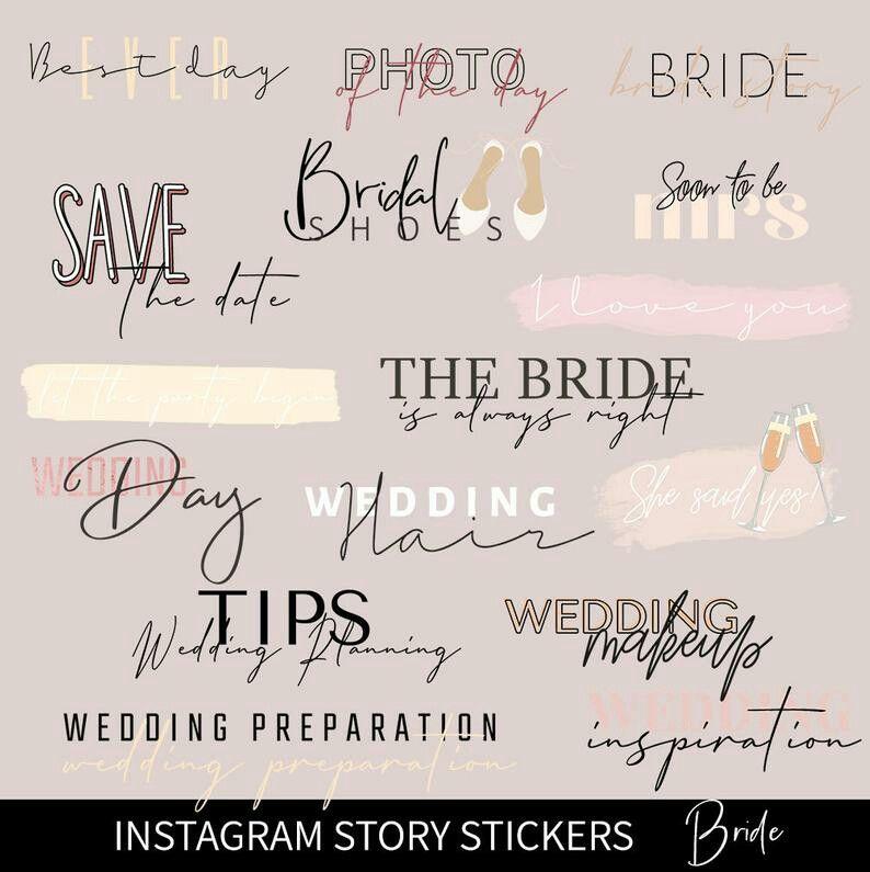 Instagram Stickers Bride Wedding Stickers Bridal Stickers Instagram Story Stickers Ig Story Stickers Etsy Bridal Instagram Stickers In 2020 Wedding Stickers Instagram Wedding Instagram Story
