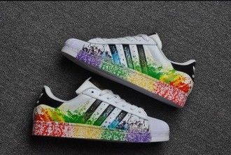 shoes adidas superstars multicolor adidas low top sneakers paint splatter  paint splash gay pride paint splashed