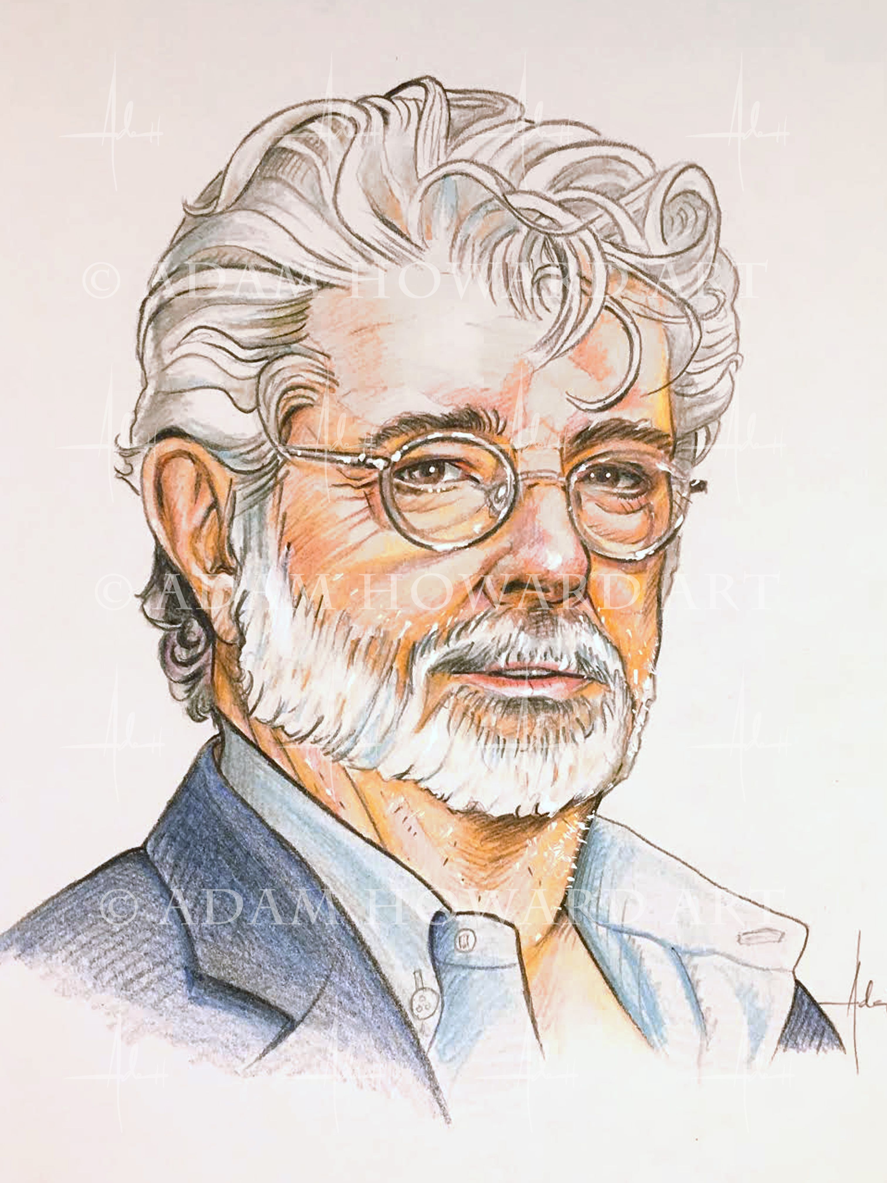 George Lucas  Illustration by and copyright of Adam Howard 2017