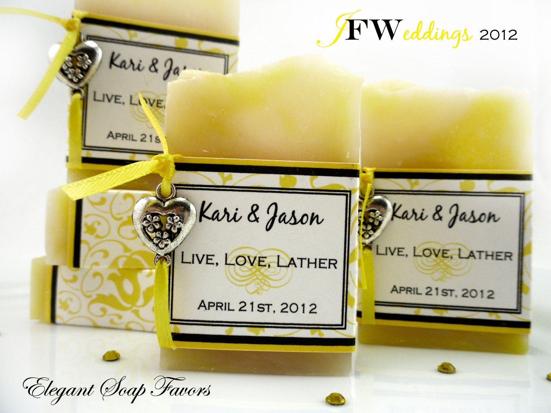 handmade vegan soap favors yellow filligree lemongrass