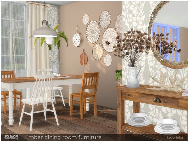 A Set Of Furniture For The Decoration Of The Dining Room Found In Tsr Category Sims 4 Dining Room Sets Room Decor Dining Room Furniture Dining Room Decor