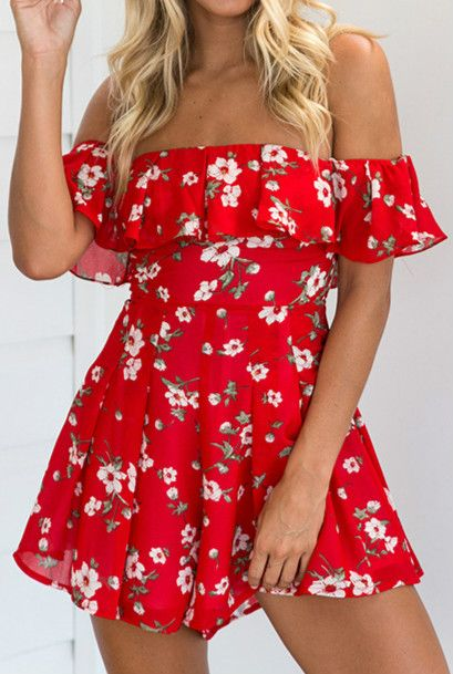 98cc4af7593e Optimize your comfort and beauty with this Floral Print Romper. It s just  so easy to throw on and look fab! More off the shoulder collection at  oasap.com