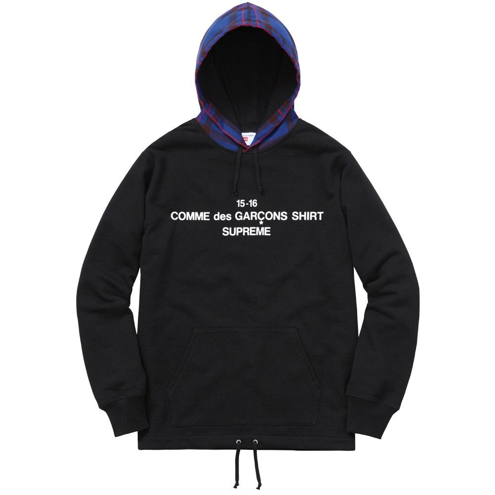 provide large selection of price authorized site CDG Shirt / Supreme Plaid Hooded Sweatshirt (Black ...