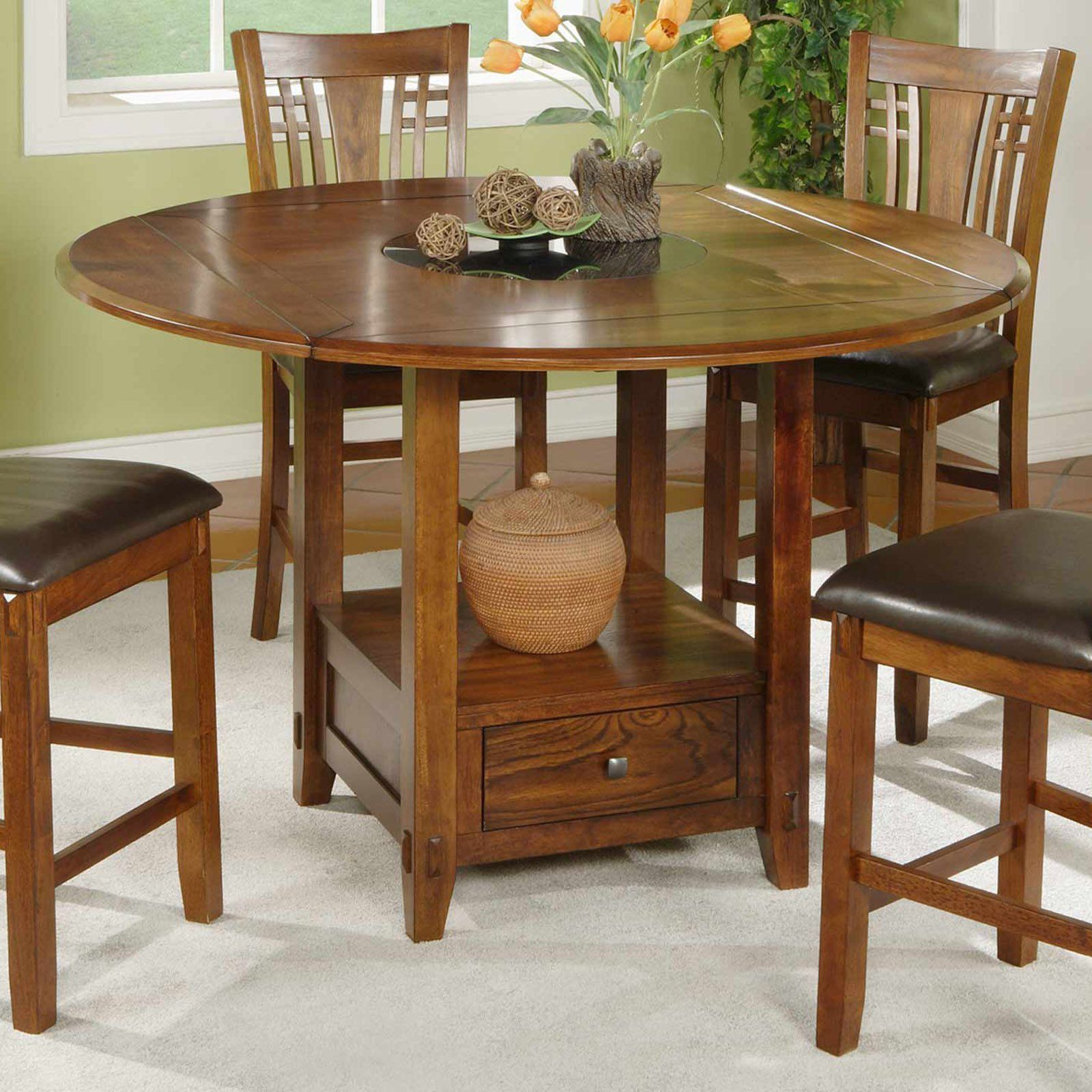 42330dde39a Winners Only Zahara Round Counter Height Dining Table with Granite Lazy  Susan