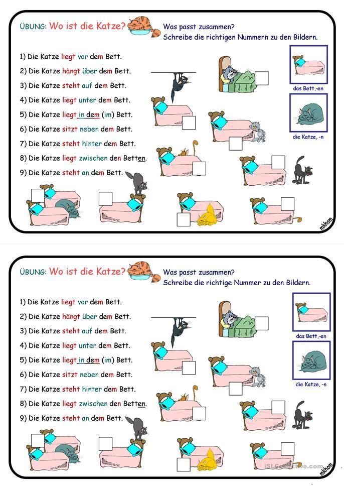 Wechselpräpositionen _ Übung _ Wo ist die Katze? | Language ...