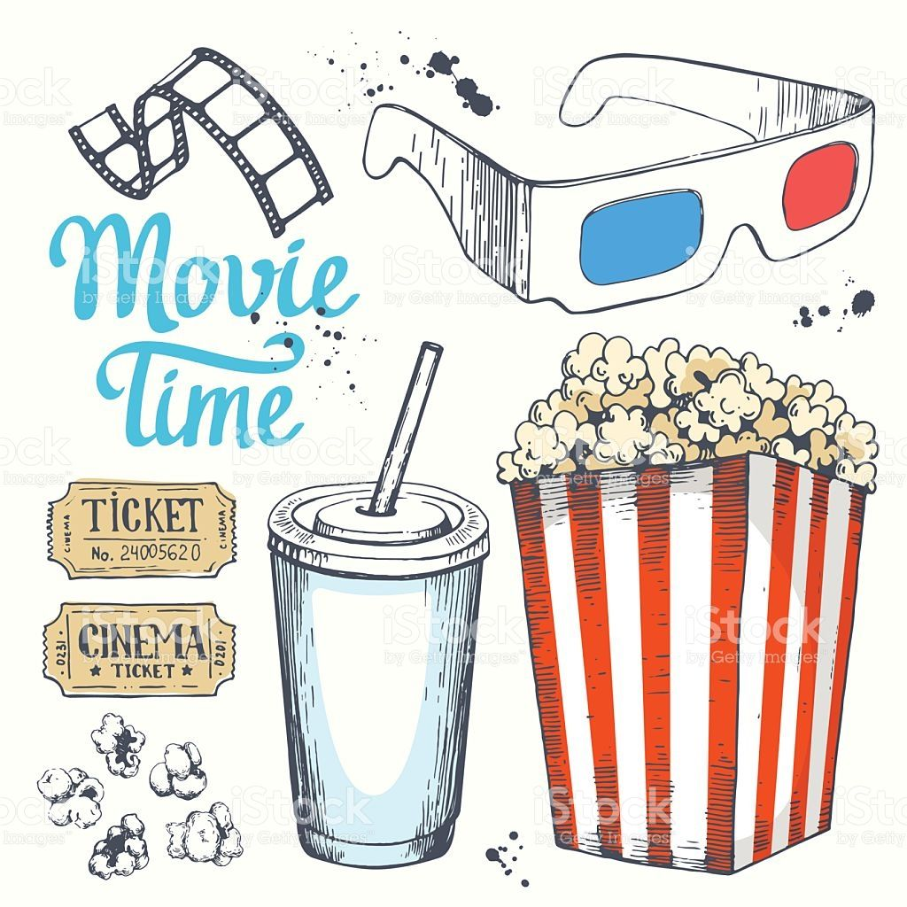 Movie time vector illustration with sketch popcorn bucket