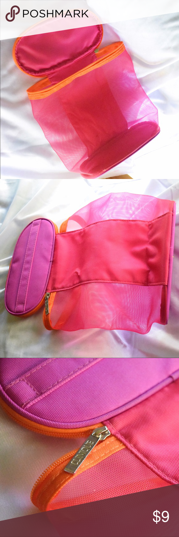 """Clinique Mesh Makeup Bag Dimensions are approx. 8.5"""" across and 8"""" in height 💗 Condition: like new!! 💗 Make me an offer! everything must go! 💗 Bundle and save!! 💗 Comment with questions :) Clinique Bags Cosmetic Bags & Cases"""