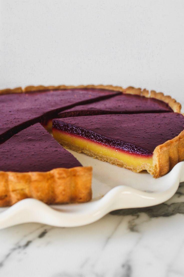 Blueberry–Lemon Curd Tart #cakesanddeserts
