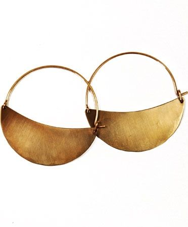 Crescent Hoops by Lila Rice $106.00 Crescent moon-shaped hoops with hammered detail. Available in silver, antiqued silver, brass, or copper. Sterling earwires (brass have 14k goldfill earwires).  Handmade in Brooklyn.