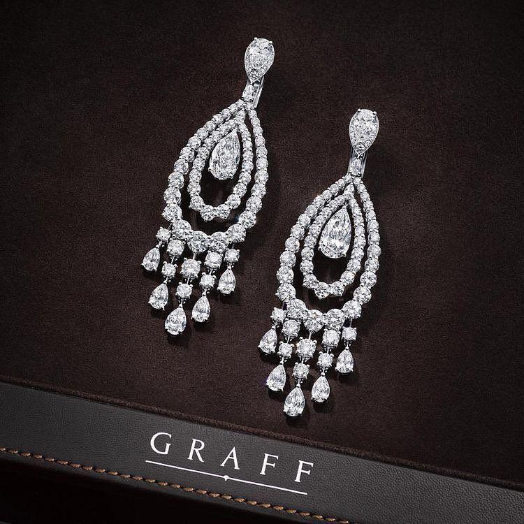 Graff Diamonds Italdizain Diamonds Graff Graffbaku Fashion Luxury White Diamond Earrings Diamond Chandelier Earrings Earrings