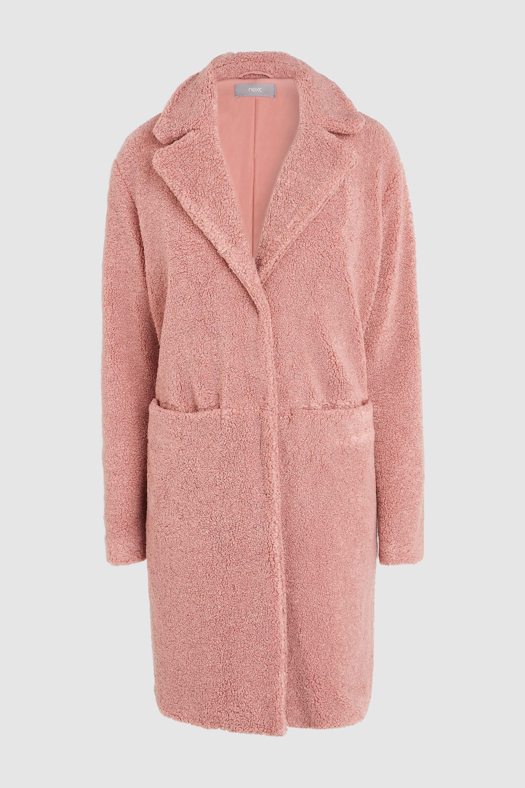 c52c0f2328a7b Womens Next Pink Long Teddy Borg Jacket - Pink. Buy Long Teddy Borg Jacket  from the Next UK online shop ...