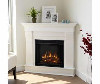 White Finish Corner Electric Fireplace Corner Electric Fireplace Corner Fireplace Farmhouse Fireplace Decor