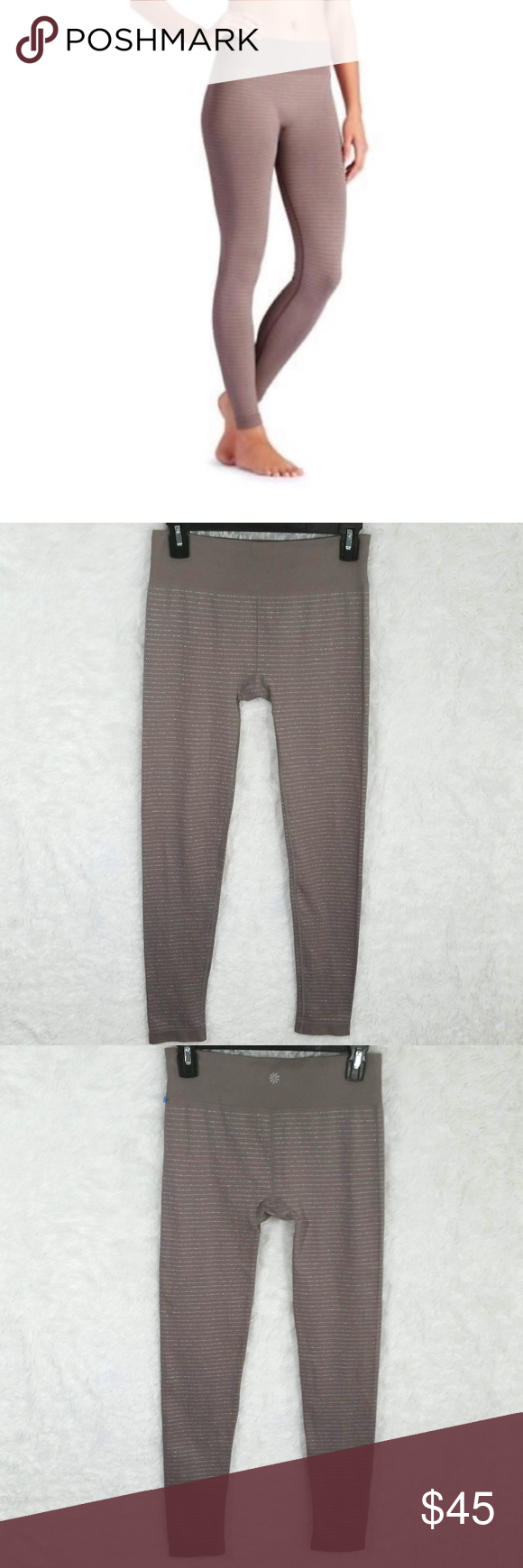 d0fb5b131bb18 Athleta Shimmer Striped Seamless Tights Fox Taupe Hi Guys! I'm Selling  these super