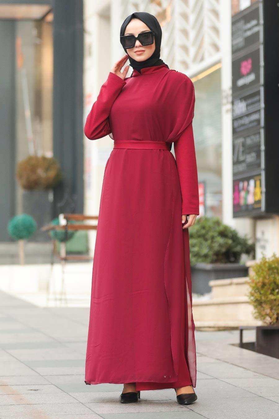 Tesetturlu Abiye Elbise Tullu Bordo Tesettur Abiye Tulum 51182br Tesettur Tesettur Abiye Modelleri 2020 In 2020 Dresses High Neck Dress Fashion